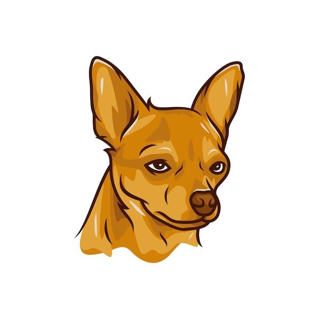 Pies Chihuahua - Wektor Logo / Ikona Ilustracja Maskotka Premium Wektorów