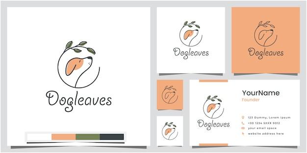 Pies Pozostawia Projektowanie Logo Z Wizytówki Premium Wektorów