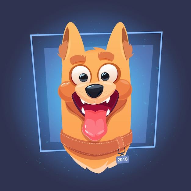 Pies twarz z otwartymi ustami na niebieskim tle Premium Wektorów