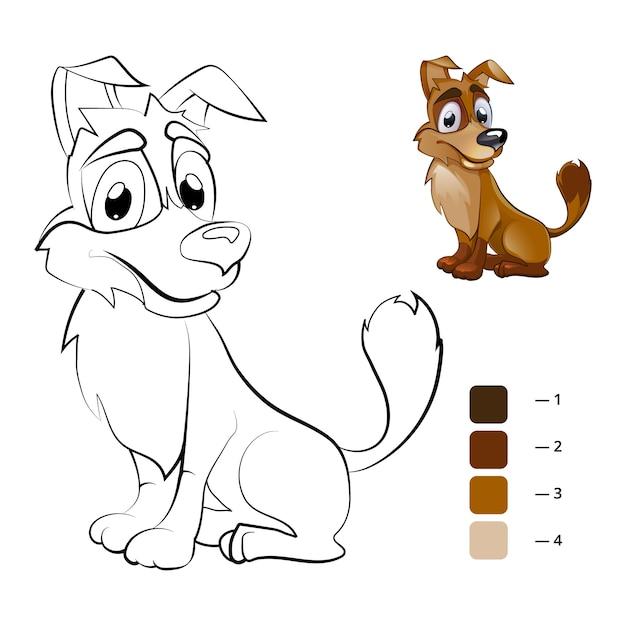 Pies W Kolorze. Kolorowanka Dla Dzieci W Wieku Przedszkolnym. Kreskówka Dla Zwierząt, Książka Do Rysowania, Szczęśliwa Postać Zwierzęcia Darmowych Wektorów