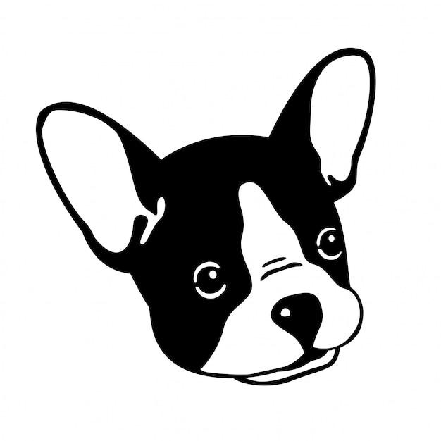 Pies wektor buldog francuski twarz głowa kreskówka Premium Wektorów