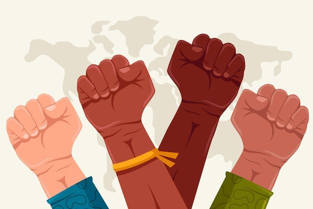 Pięść Wielorasowych Kolorów Powstrzymuje Rasizm Darmowych Wektorów