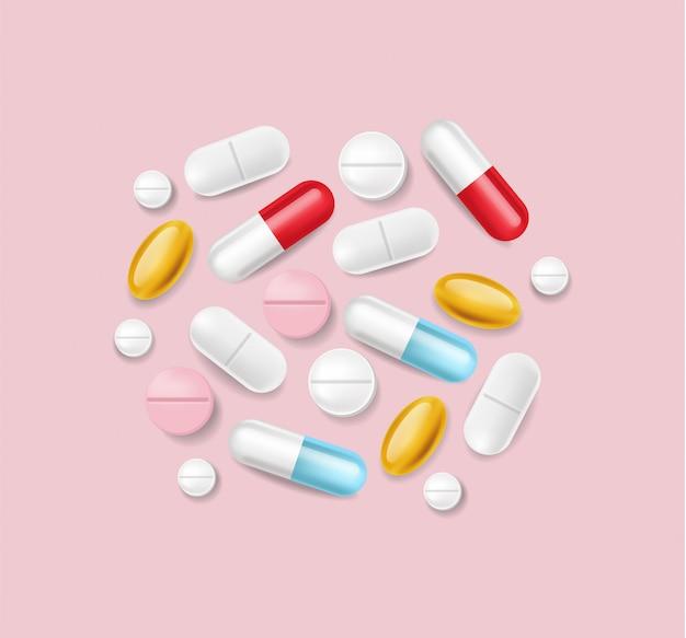 Pigułki Realistyczne. Medyczny Stos Różne Medycyny 3d Ilustracje Darmowych Wektorów