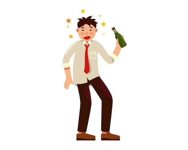 Pijany Mężczyzna Z Butelką Alkoholu W Ręku Premium Wektorów