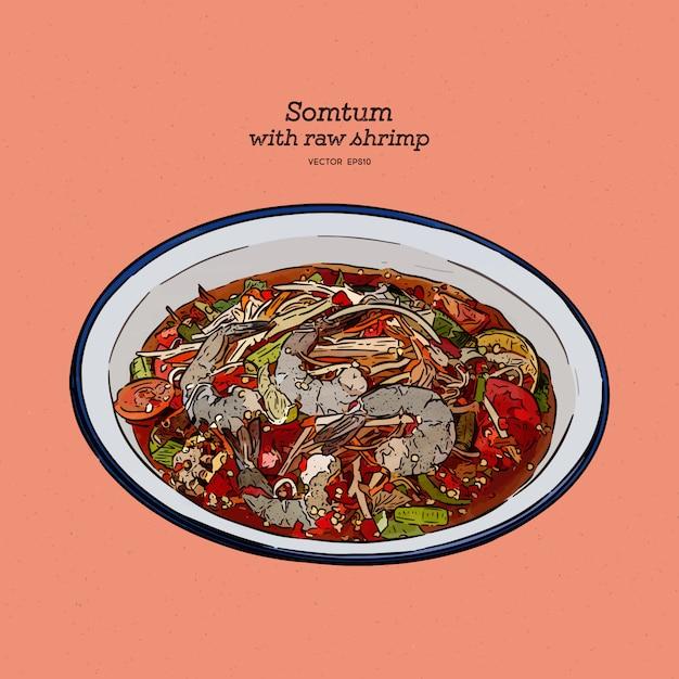 Pikantna Sałatka Z Papai Ze świeżą Surową Krewetką Lub Somtum, Lokalne Tajskie Jedzenie. Ręcznie Rysować Szkic. Premium Wektorów
