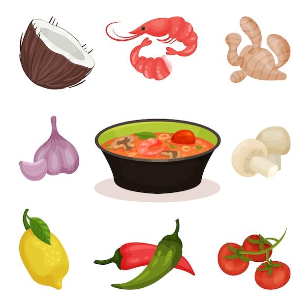 Pikantna Zupa Tom Yam Kung Ze Składnikami, Ilustracja Kuchni Tajskiej Na Białym Tle Premium Wektorów