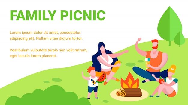 Piknik rodzinny lato rekreacja ilustracja Premium Wektorów