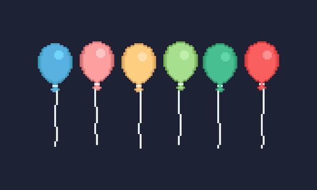 Piksel Kolorowy Balon Projekt Dla Sztandaru Premium Wektorów