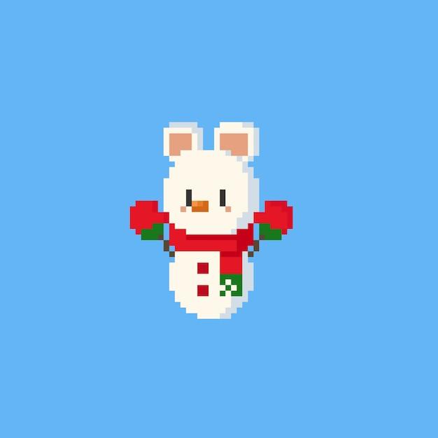 Piksel niedźwiedź polarny bałwana znaków.chasmasn.8bit. Premium Wektorów