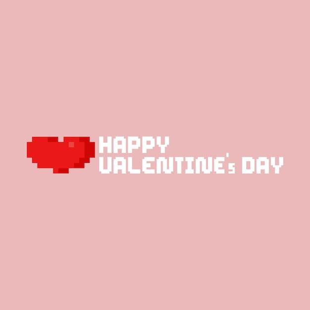 Piksel serce z szczęśliwym valentine tekstem Premium Wektorów