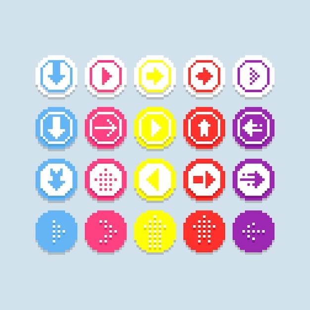 Piksel strzałki wektor zestaw ikon Premium Wektorów