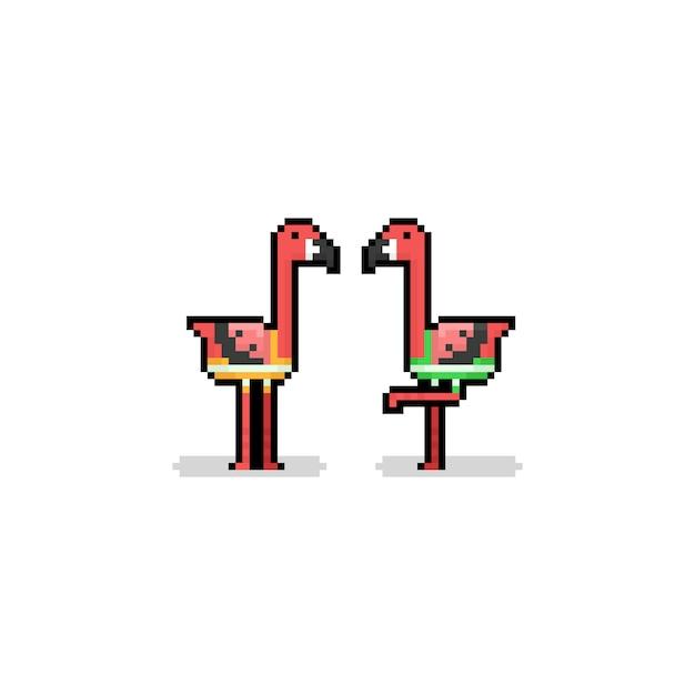 Piksel Sztuka Kreskówka Flaming Charakter Z Kąpielówki Pni.8bit Lato. Premium Wektorów