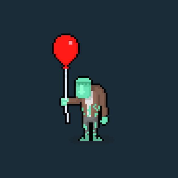 Piksel Sztuki Kreskówki Frankenstien Trzyma Czerwonego Balon. Premium Wektorów