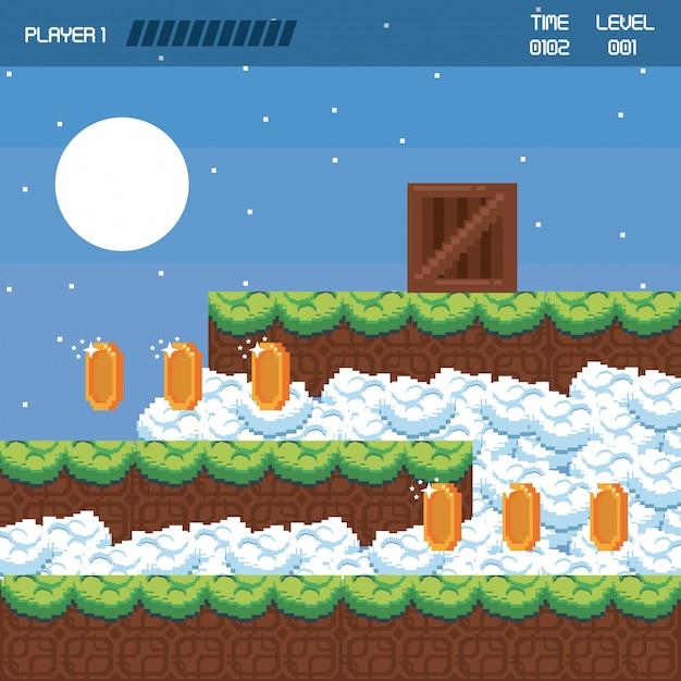 Pikselowa krajobrazowa sceneria gier wideo Premium Wektorów