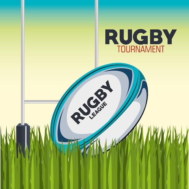 Piłka Do Rugby Z Polem I Postem Premium Wektorów