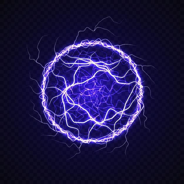 Piłka Elektryczna Z Efektem Błyskawicy Premium Wektorów