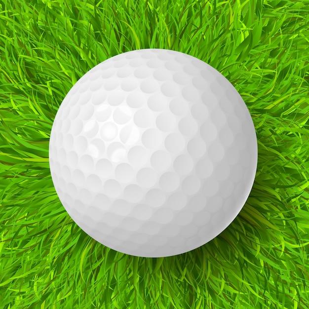 Piłka golfowa na trawie Darmowych Wektorów