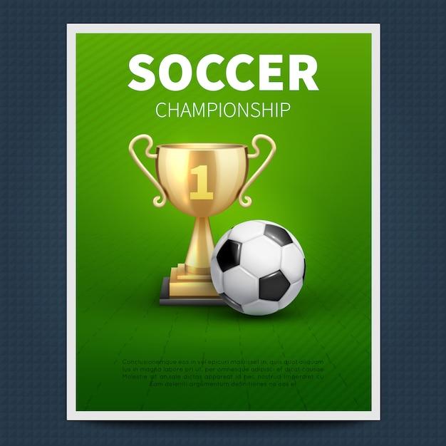 Piłka nożna lub europejskiej piłki nożnej wektoru sportów plakata szablon. illutsration mistrzostw w piłce nożnej, turniej drużynowy Premium Wektorów