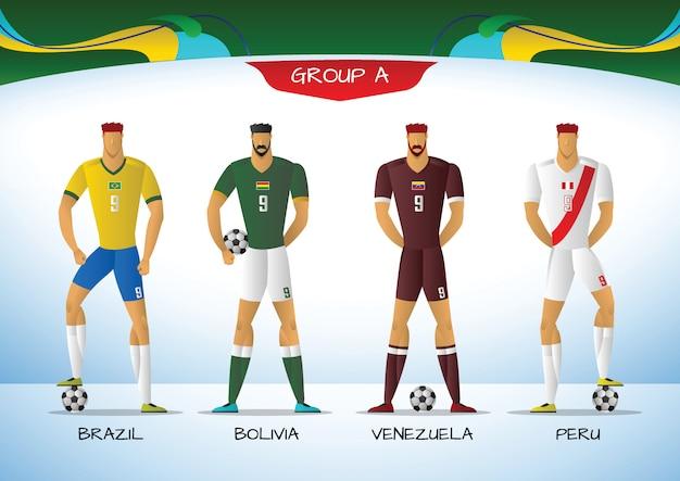 Piłka nożna lub piłka nożna mundur drużyny ameryki południowej Premium Wektorów