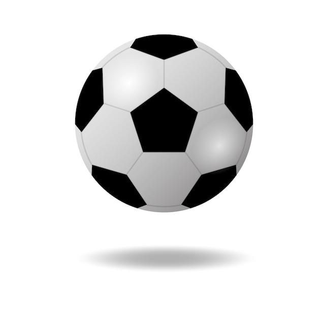 Piłka nożna lub piłka nożna pływające z cieniem na białym tle Premium Wektorów