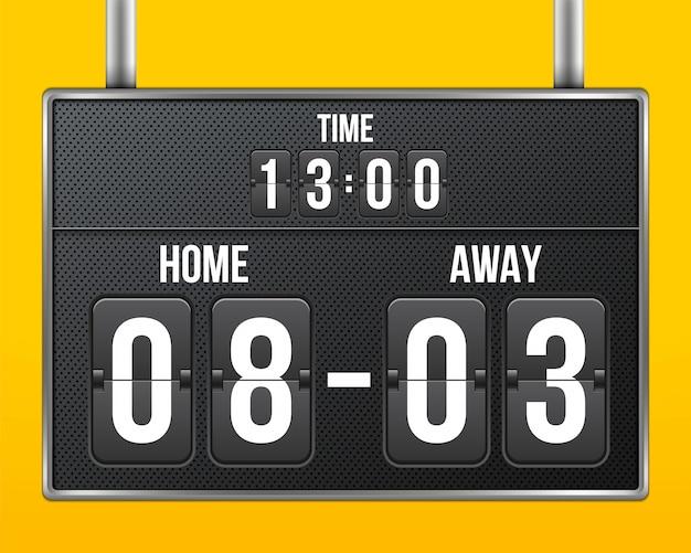 Piłka nożna, mechaniczna tablica wyników piłki nożnej, odliczanie. Premium Wektorów