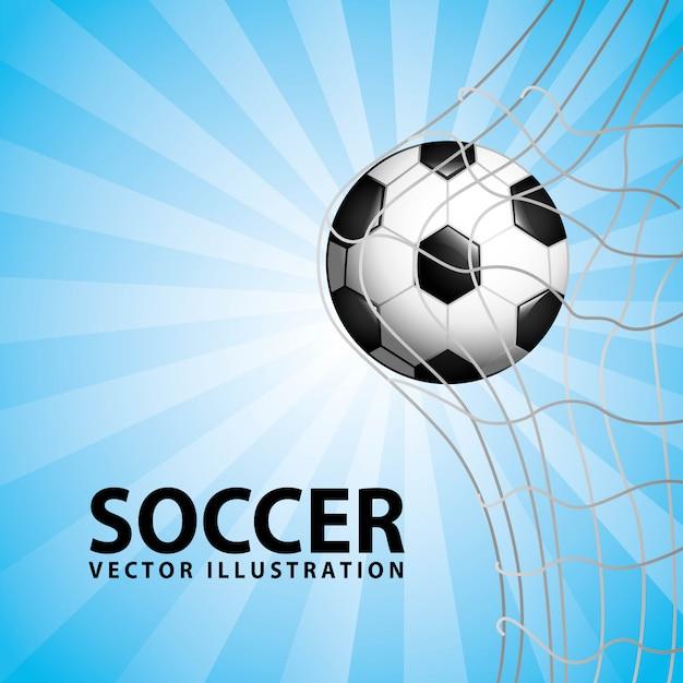 Piłka nożna projekt na niebieskim tle ilustracji wektorowych Premium Wektorów