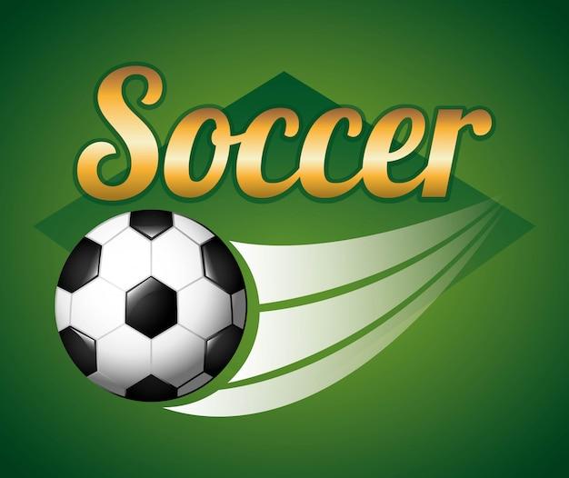 Piłka nożna projekt nad zieloną tło wektoru ilustracją Premium Wektorów