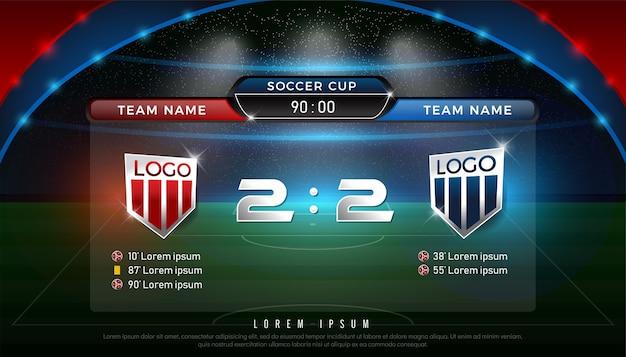 Piłka nożna tablica wyników zespołu a vs zespół b strategii nadawania graficzny szablon Premium Wektorów