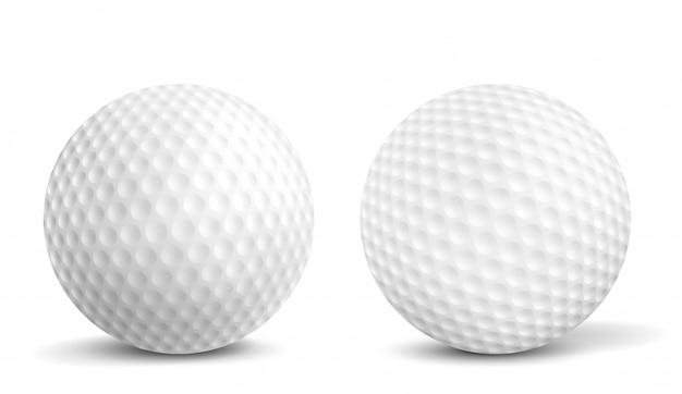 Piłki golfowe na białym tle realistyczne ilustracje wektorowe Darmowych Wektorów