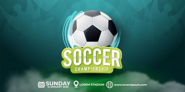 Piłki Nożnej Turnieju Ilustracja Z Trawą Premium Wektorów