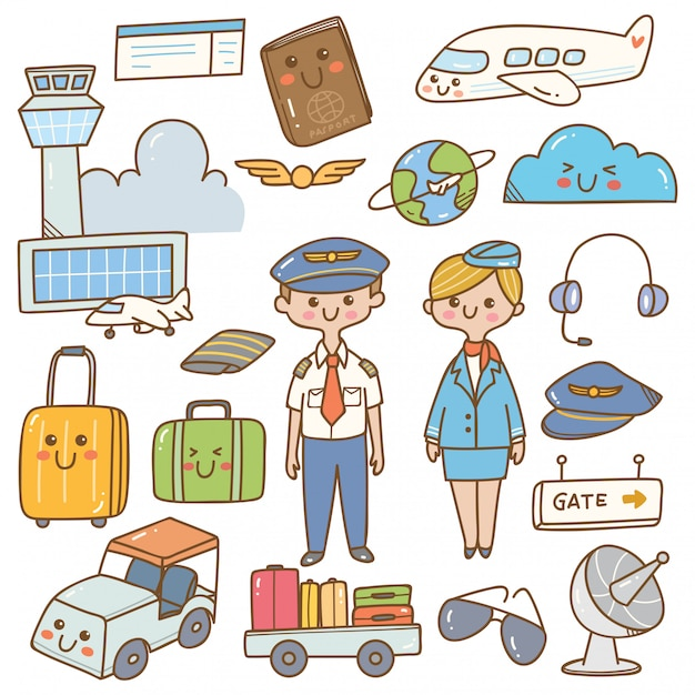 Pilot i stewardessa z wyposażeniem kawaii doodle Premium Wektorów