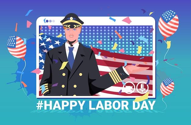 Pilot W Mundurze Trzymając Flagę Usa Szczęśliwego święta Pracy Premium Wektorów