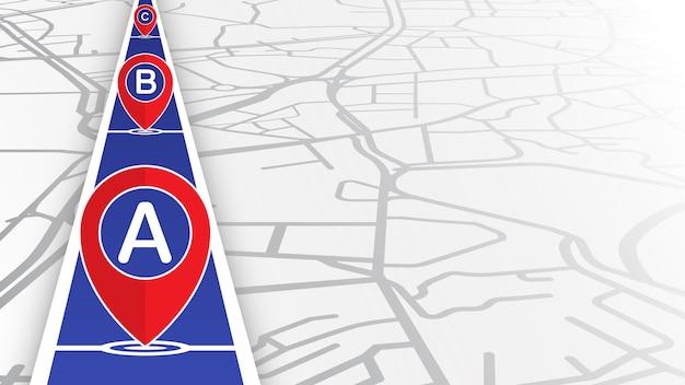 Pin upadający na niebieską linię z mapą ulicy Premium Wektorów