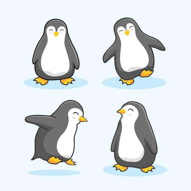 Pingwin Cartoon Cute Animals Premium Wektorów