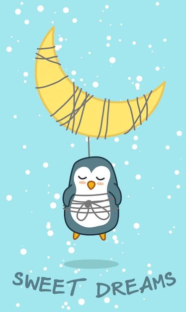 Pingwin i księżyc w słodkim śnie tematu. Premium Wektorów