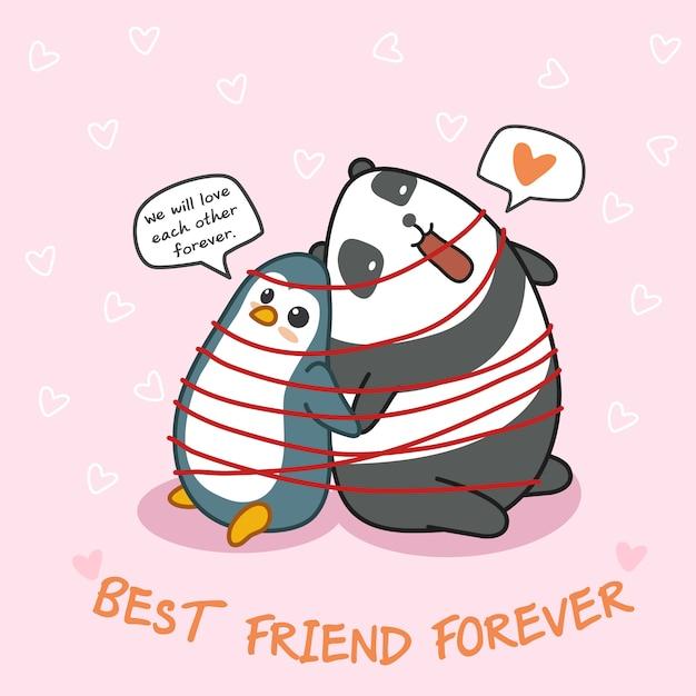 Pingwin I Panda Są Przyjaciółmi. Premium Wektorów