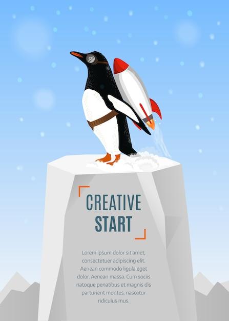 Pingwin Zaczyna Startować Za Pomocą Rakiety Premium Wektorów