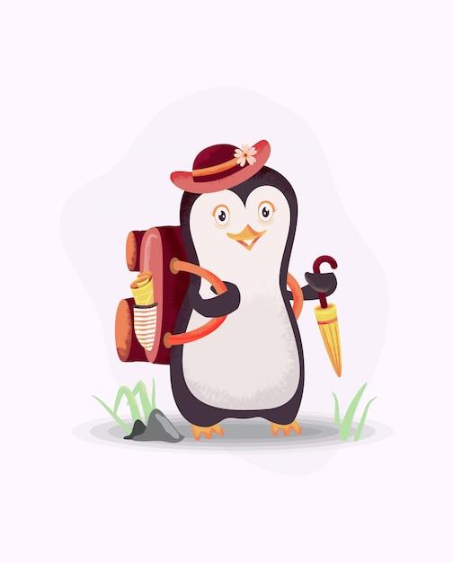 Pingwiny Gotowe Na Wakacje. Motyw Tła Wakacje Z Pingwinem, Kapeluszem, Parasolem I Torbą Premium Wektorów