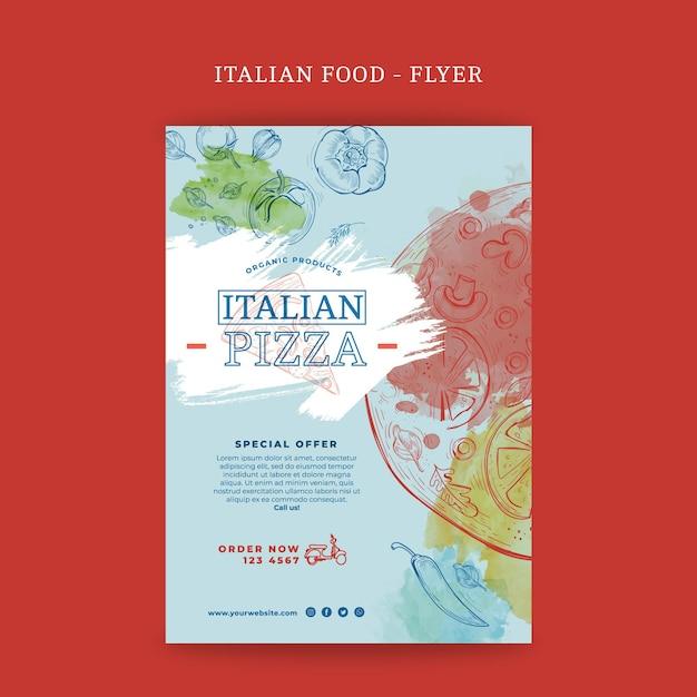 Pionowa Ulotka Włoskiego Jedzenia Darmowych Wektorów