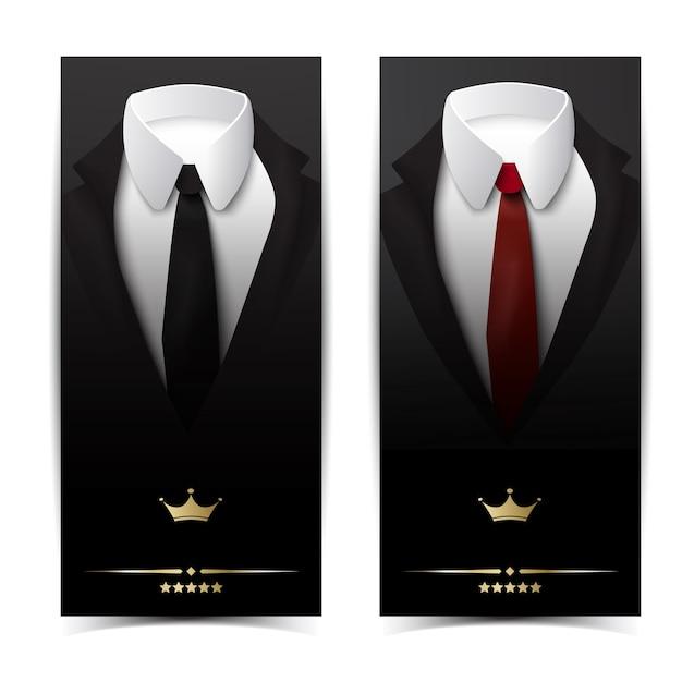 Pionowe Banery Odzieży Biznesowej Z Klasycznymi Kurtkami, Czarnymi Czerwonymi Krawatami I Białymi Koszulami Darmowych Wektorów