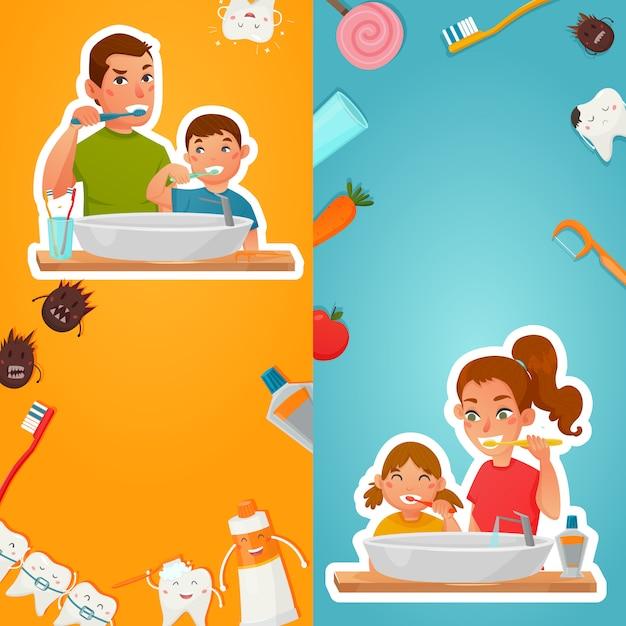 Pionowe transparenty rodzinne higieny zębów Darmowych Wektorów