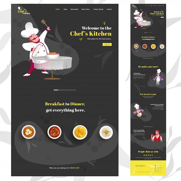 Pionowy baner internetowy szefa kuchni z kreskówkową postacią szefa kuchni przedstawiającą potrawy na czarno i podane usługi. Premium Wektorów