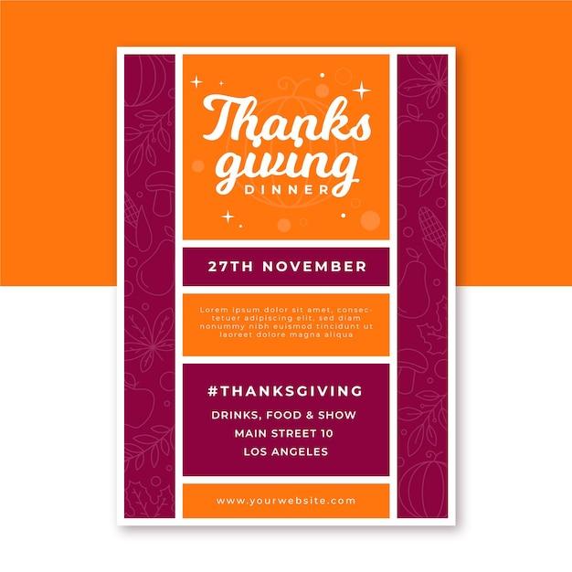 Pionowy Plakat Dziękczynienia Darmowych Wektorów