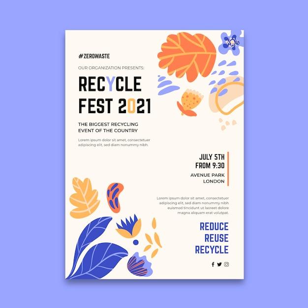 Pionowy Plakat Na Festiwal Recyklingu Darmowych Wektorów