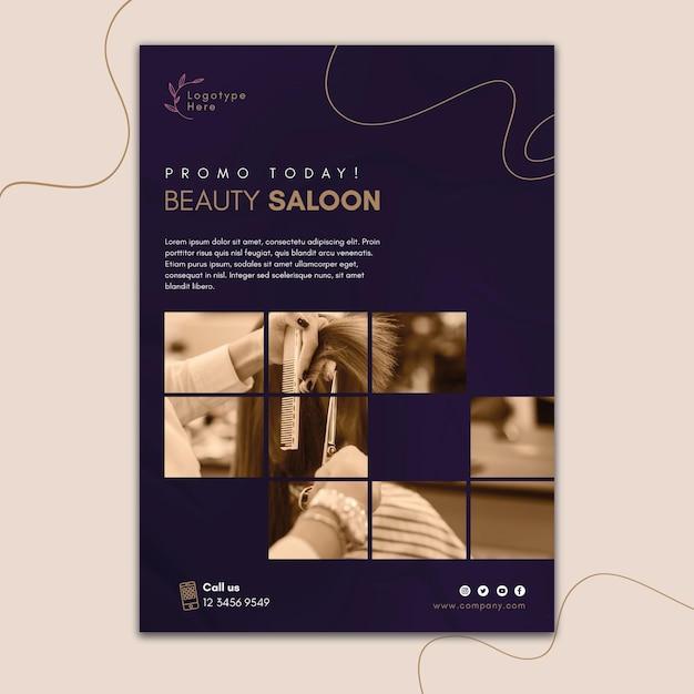 Pionowy Szablon Plakatu Do Salonu Piękności Premium Wektorów