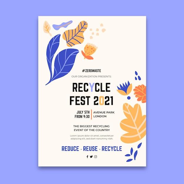 Pionowy Szablon Plakatu Na Festiwal Dzień Recyklingu Darmowych Wektorów