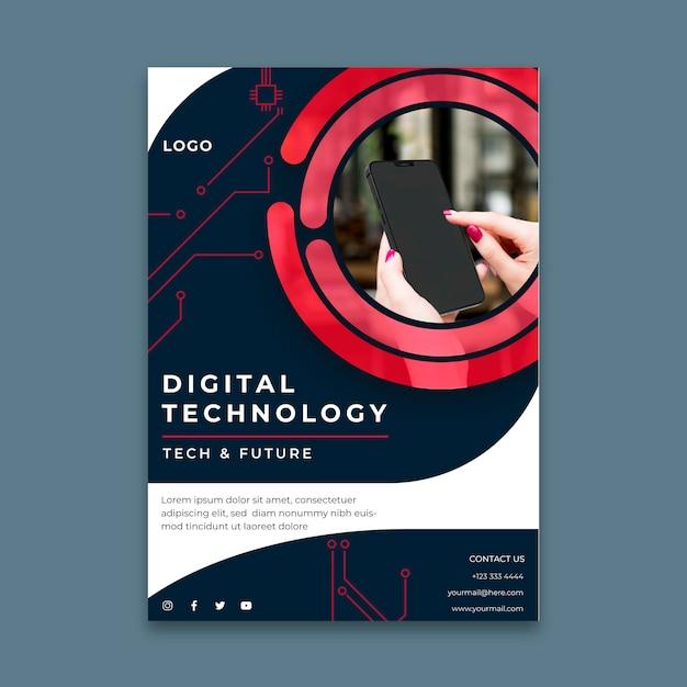 Pionowy Szablon Ulotki Dla Technologii Cyfrowej Darmowych Wektorów
