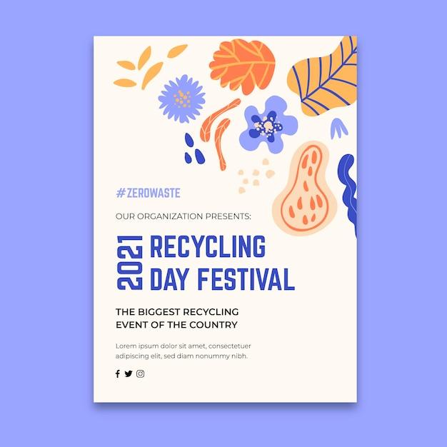 Pionowy Szablon Ulotki Na Festiwal Dzień Recyklingu Premium Wektorów