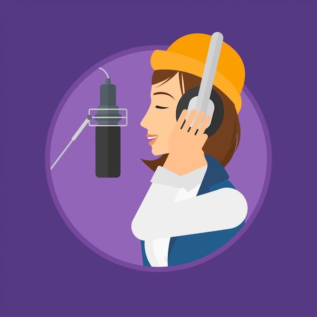 Piosenka nagrywająca piosenkarkę. Premium Wektorów