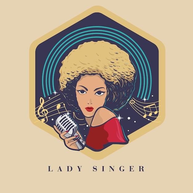 Piosenkarka O Blond Włosach I Czarnej Skórze Premium Wektorów